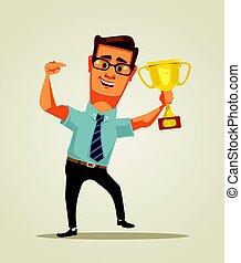 arany-, nyertes, cup., lakás, fog, betű, ábra, vektor, üzletember, mosolygós, karikatúra, boldog
