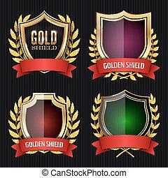 arany-, pajzs, állhatatos, noha, laurel füstcsiga, és, piros, ribbon., vektor, ábra