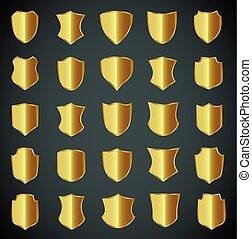 arany-, pajzs, tervezés, állhatatos, noha, különféle, shapes.