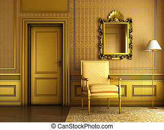 arany-, palota, öntés, karosszék, klasszikus, tükör, belső