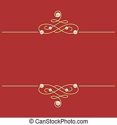 arany-, pearls., ábra, cégtábla., burgundia, calligraphic, ...