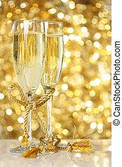 arany-, pezsgő, háttér, fuvolák