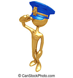 arany-, rendőrség tiszt, üdvözöl