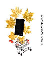 arany-, smartphone, bevásárlás, zöld, kordé, kicsi, piros