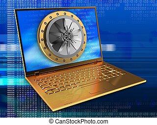 arany-, számítógép, ajtó, 3, boltozat