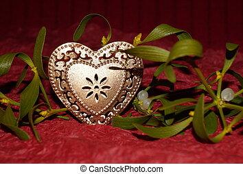 arany-, szív, és, fagyöngy, képben látható, piros háttér