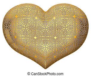 arany-, szív alakzat, berakásos, noha, káró