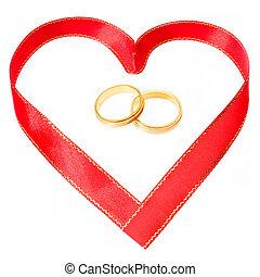 arany-, szív, gyűrű, alakít, lejtő, szalag