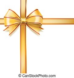 arany-, szalag, íj, képben látható, white., vektor, dekoratív terv, alapismeretek