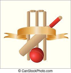 arany, tiszta, transzparens, wickets, krikett, egy, ábra, üt