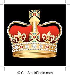 arany, tsarist, gyöngyszem, korona, kereszt