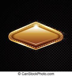 arany-, vegas, frame., banner., elszigetelt, ábra, háttér., vektor, fekete, áttetsző, csillogó