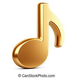 arany, zene, note.