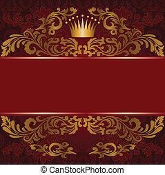 aranyozott, díszítés, piros háttér
