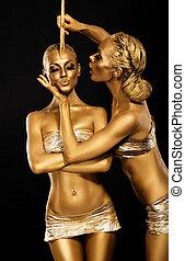 aranyozott, rajzóra, fantasy., arany, bodies., women's, creativity., fényes
