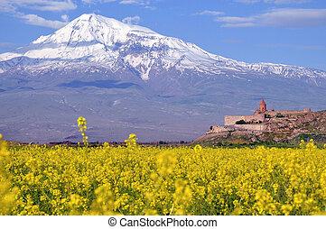 Ararat in Armenia with sacred Khor Virap monastery near Erevan