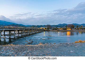 Arashiyama bridge at night