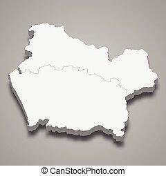araucania, región, mapa, isométrico, 3d, chile