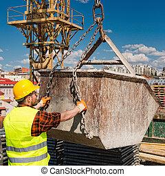 arbeider, beton, bouwsector, manouvering, mand, kraan