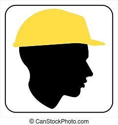 arbeider, bouwsector, -, bouwterrein, meldingsbord