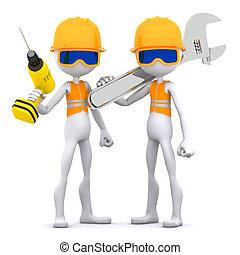 arbeider, bouwsector, groep, equipment.