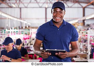 arbeider, clipcoad, textiel, amerikaan, vasthouden, afrikaan