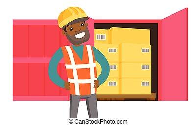 arbeider, de container van de lading, boxes., afrikaan