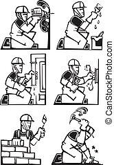 arbeider, gebouw stel