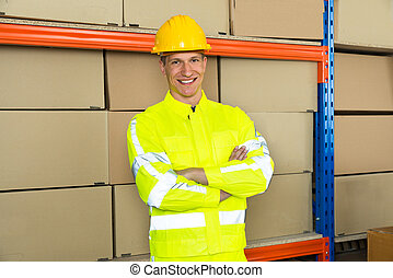 arbeider, gekruiste wapens, magazijn, mannelijke , vrolijke
