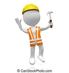 arbeider, hamer, 3d
