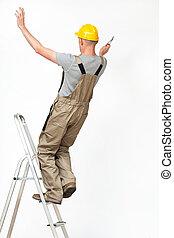 arbeider, het vallen, van, ladder