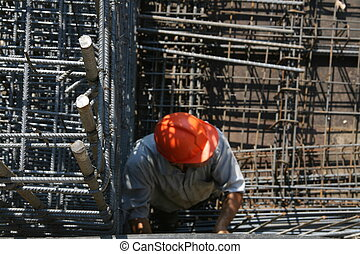 arbeider, in, bouwsector