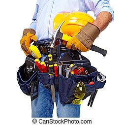 arbeider, met, een, werktuig, belt., construction.