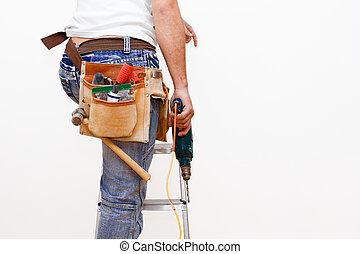 arbeider, met, gereedschap