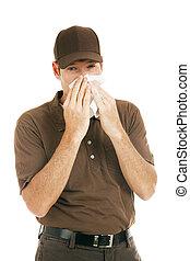 arbeider, met, griep