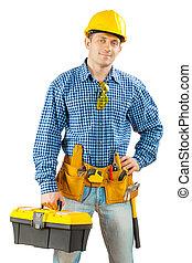 arbeider, met, toolbox, vrijstaand