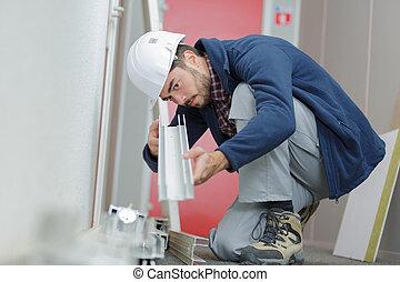 arbeider, metaal, installeren, balken