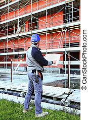 arbeider, op, bouwsector