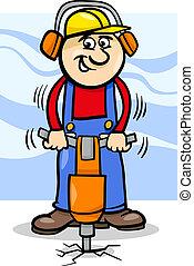 arbeider, pneumatische hamer, spotprent