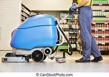 arbeider, poetsen, vloer, met, machine