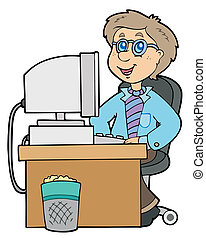 arbeider, spotprent, kantoor