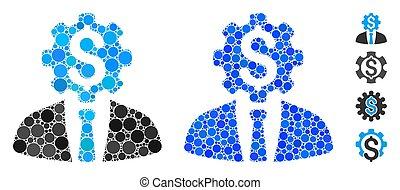 arbeider, tandwiel, kantoor, dollar, ronde, samenstelling, pictogram, punten