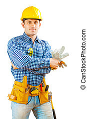 arbeider, vasthouden, handschoenen, vrijstaand