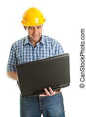 arbeider, vervelend, harde hoed, en, gebruik, leptop