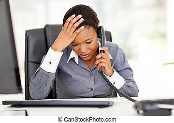 arbeider, verward, kantoor, afrikaan