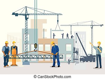 Building house. Work process of buildings construction