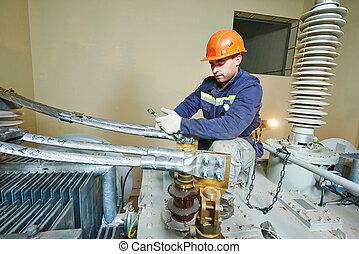 arbeit, elektriker, streckenarbeiter, macht