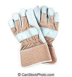 arbeit, freigestellt, handschuhe, hintergrund, paar, weißes