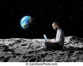arbeit, global, entfernt, oder, wi-fi