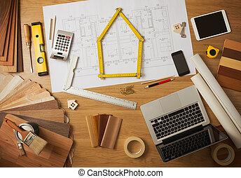 arbeit, innerer entwerfer, architekt, tisch